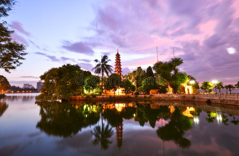 Tran Quoc pagoda sunset in hanoi, vietnam. Sunset of Tran quoc pagoda in ho tay west lake of hanoi, vietnam stock photography