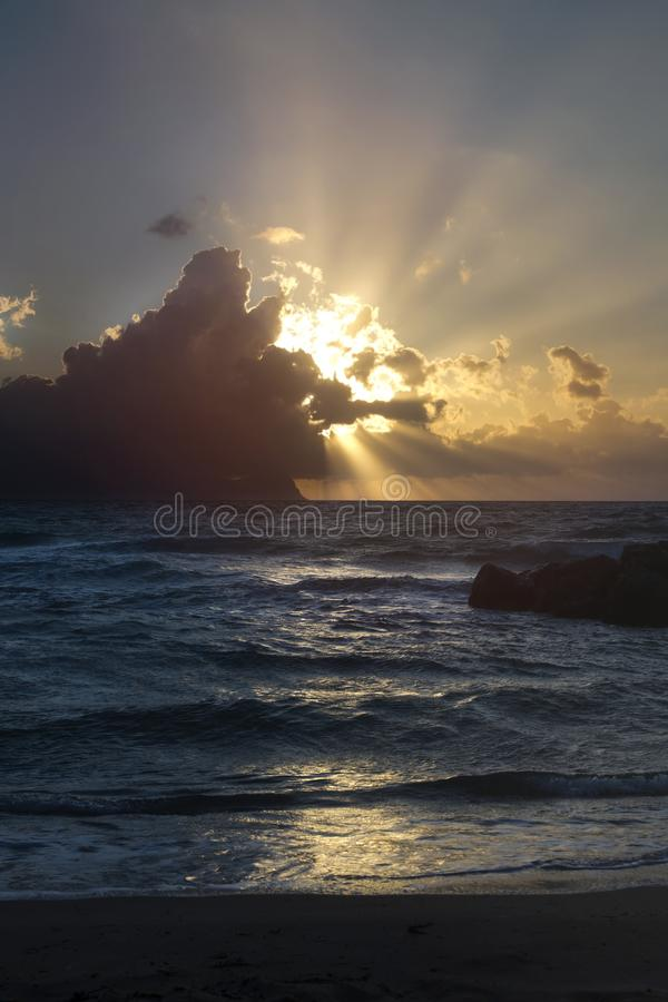 Beautiful sunset in Sicily, Italy stock images