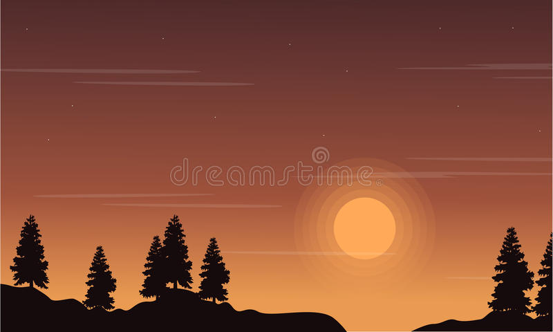 At sunset tree on the hill landscape. Vector art royalty free illustration