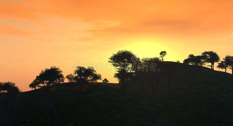 Sunset_Trees illustration libre de droits