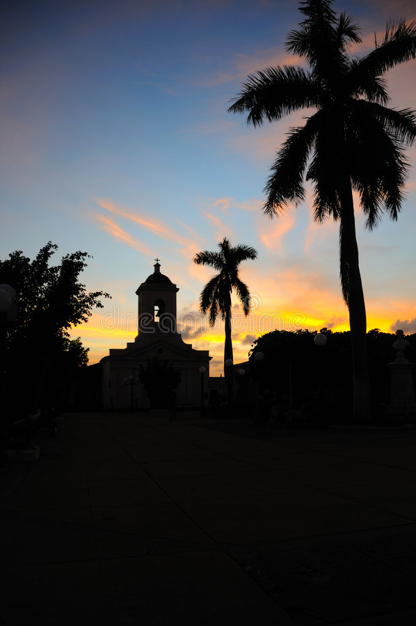 Sunset in Trinidad, cuba stock image
