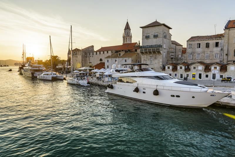 Sunset Trogir historic City royalty free stock photos