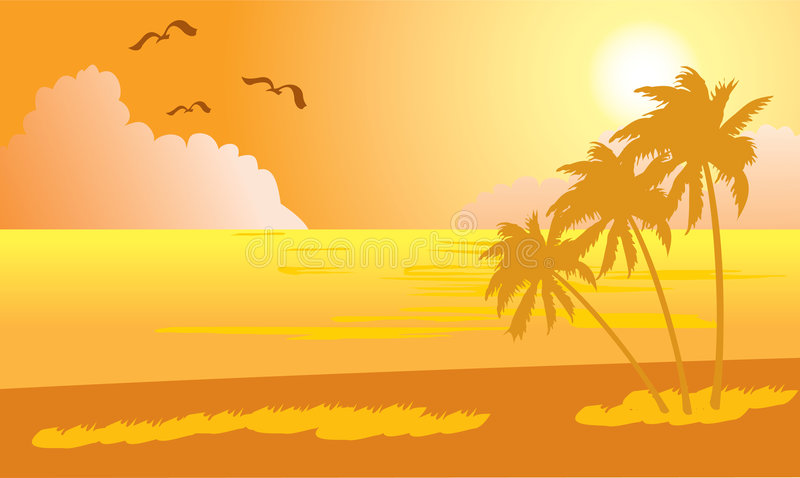 Sunset on tropical beach - 1 vector illustration