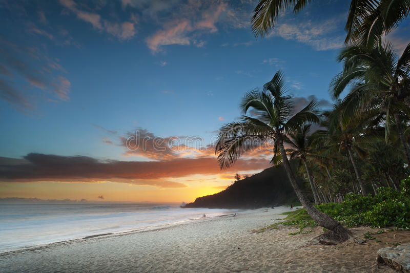 Download Sunset on tropical beach stock image. Image of cloudy - 24923251