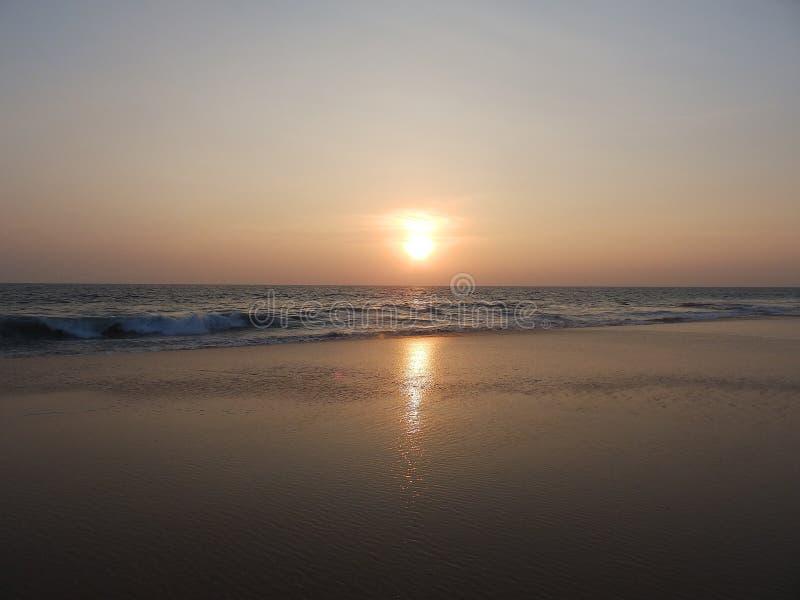 Sunset on a tropical beach in Hikkaduwa. Sri Lanka royalty free stock images