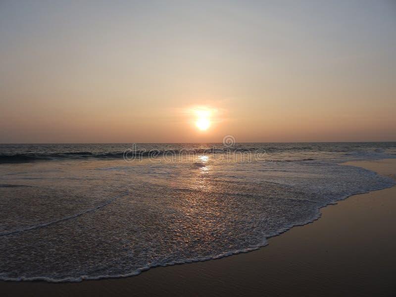 Sunset on a tropical beach in Hikkaduwa. Sri Lanka stock photos