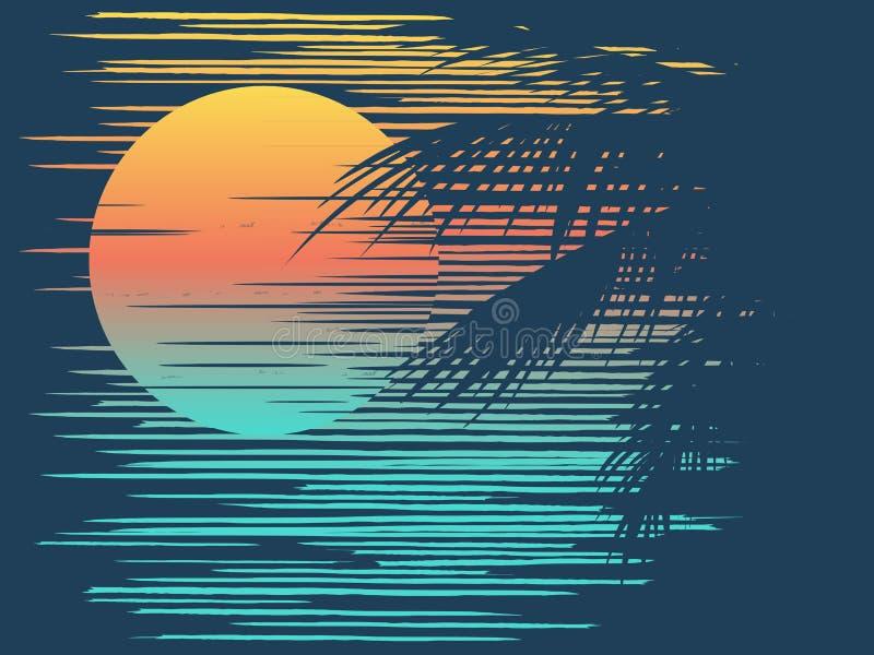 Sunset on tropical beach vector illustration