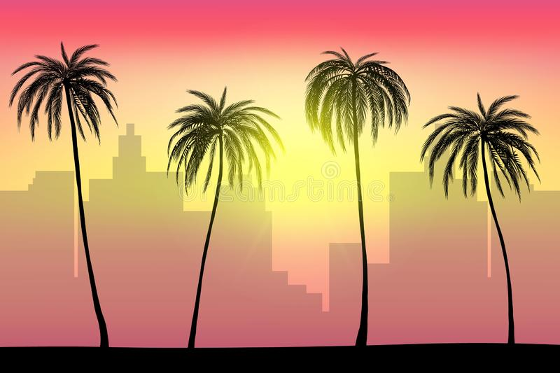 Sunset and tropical palm trees with city landscape background, vector. Illustration, eps 10 file stock illustration