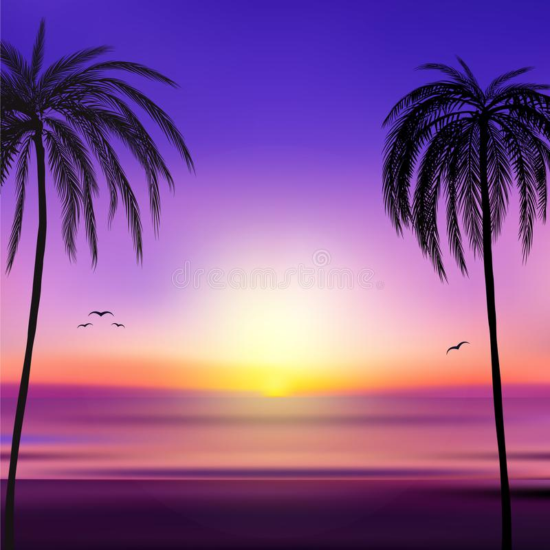 Sunset and tropical palm trees with colorful landscape background, vector. Illustration, eps 10 royalty free illustration