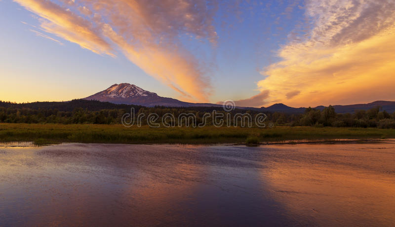 Sunset at Trout Lake. Trout Creek at Trout Lake, WA is a great place to watch sunrises and sunsets. MT Adams is on the background royalty free stock image
