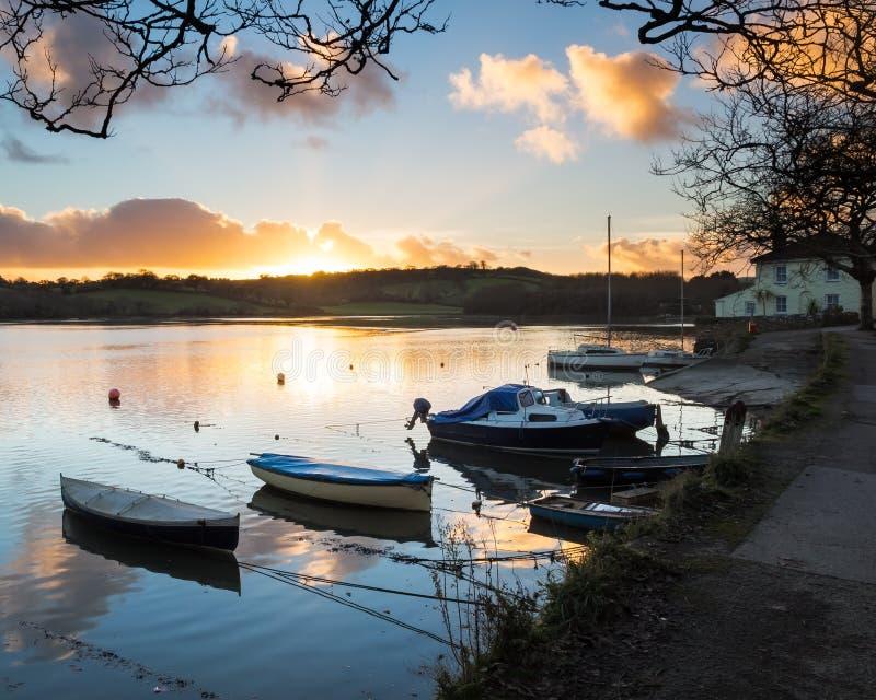 Sunset Truro Cornwall. Sunset on the Truro River at Sunny Corner Malpas England UK Europe royalty free stock photo