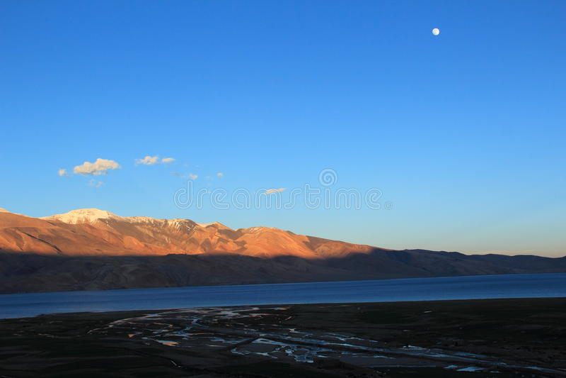 Sunset In Tso-moriri lake(Ladakh). stock photo