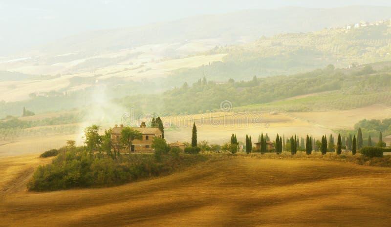 Sunset Tuscany landscape royalty free stock photography