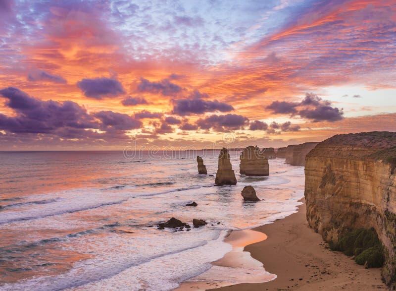 Sunset at Twelve Apostles, Great Ocean Road, Victoria, Australia. Stunning sunset at Twelve Apostles, Great Ocean Road, Victoria, Australia royalty free stock image