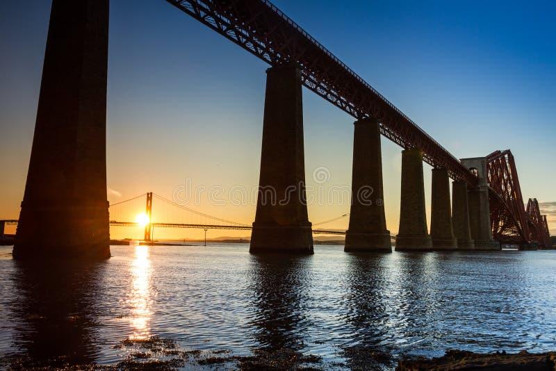 Sunset between the two bridges stock photos