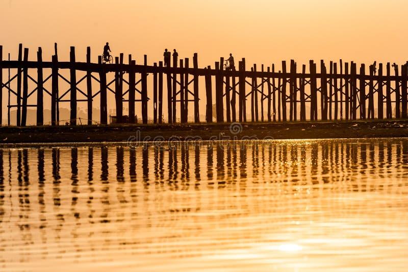 Sunset At The U Bein Bridge, Myanmar Royalty Free Stock Photography