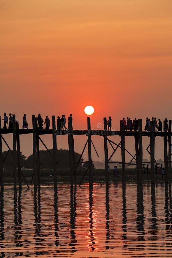 Sunset on Ubein bridge. At Mandalay, Myanmar royalty free stock images