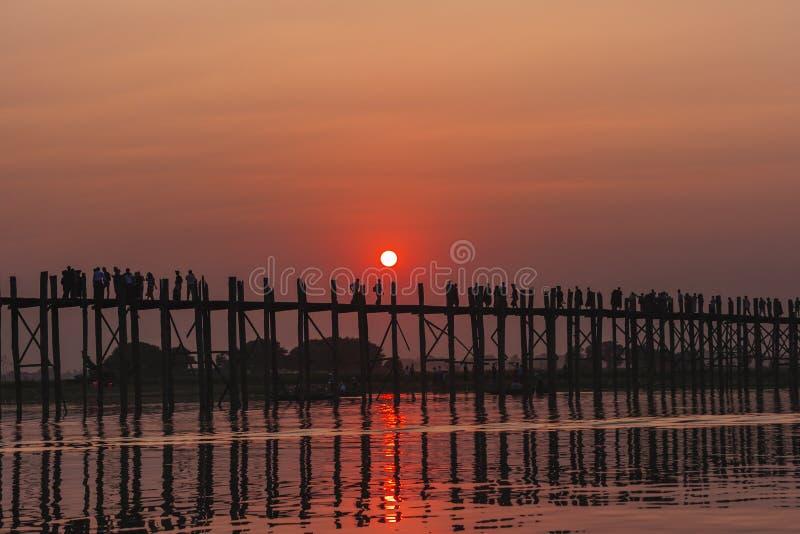 Sunset on Ubein bridge. At Mandalay, Myanmar stock photos
