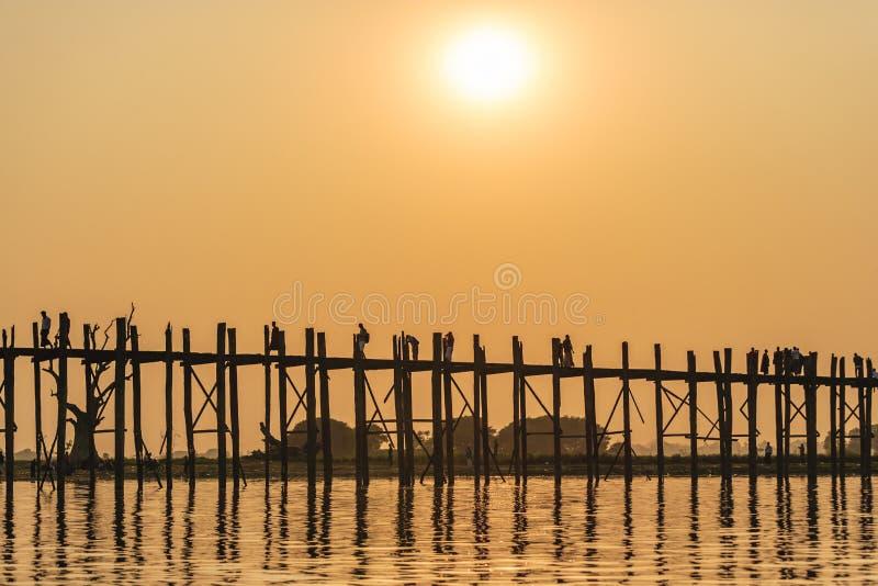 Sunset on Ubein bridge. At Mandalay, Myanmar royalty free stock photos