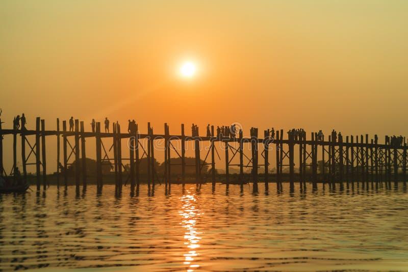 Sunset on Ubein bridge. At Mandalay, Myanmar royalty free stock image