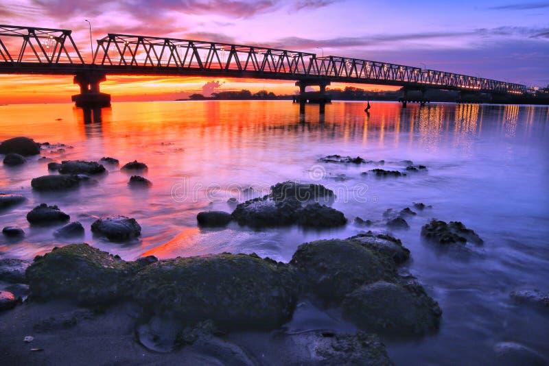 Sunset under the Bridge royalty free stock images