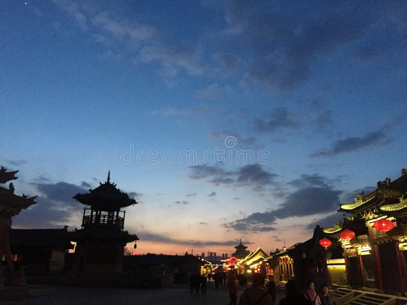 Sunset in Shanxi Datong, Shanxi Province, China antique street royalty free stock images