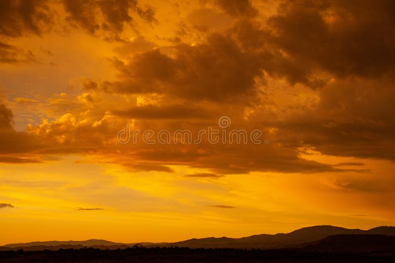 Sunset Under Cloudy Sky stock image