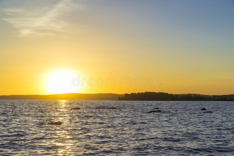 Sunset on the Upper Iset pond royalty free stock photography