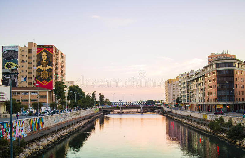 Sunset Urban River royalty free stock image