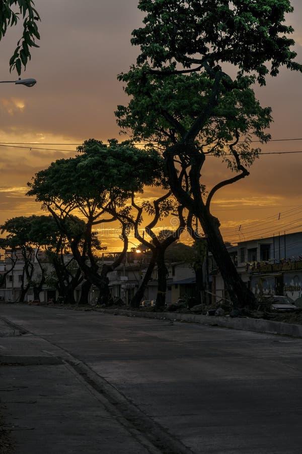 Sunset Urban Scene Middle Class District, Guayaquil, Ecuador stock photography