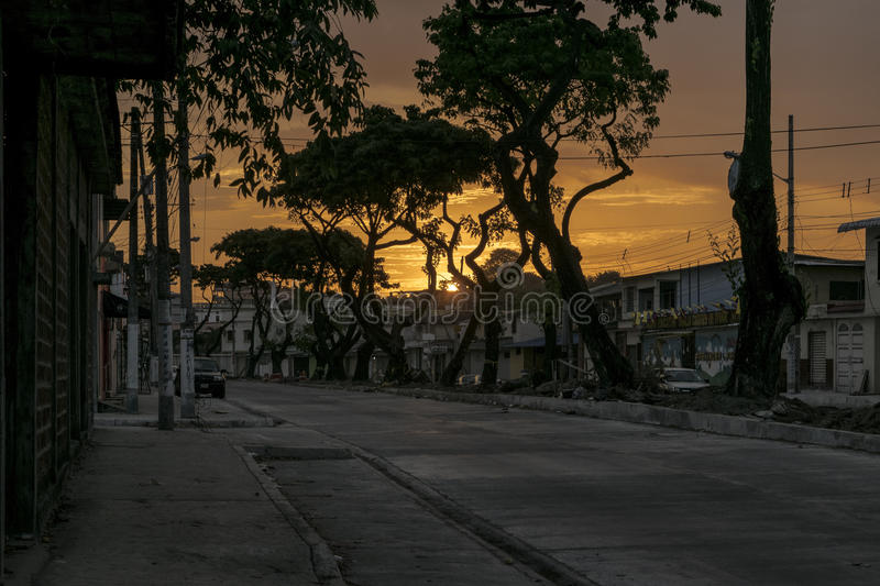 Sunset Urban Scene Middle Class District, Guayaquil, Ecuador royalty free stock image