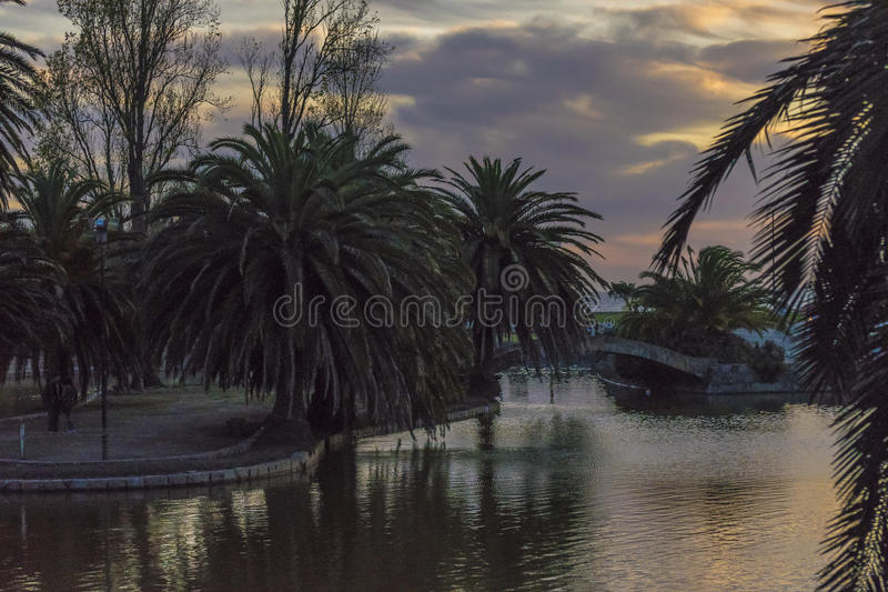 Sunset Urban Scene at Park in Montevideo stock images