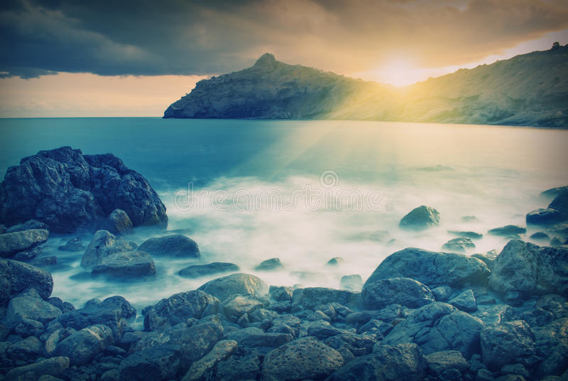 Sunset_v bonito do mar fotografia de stock