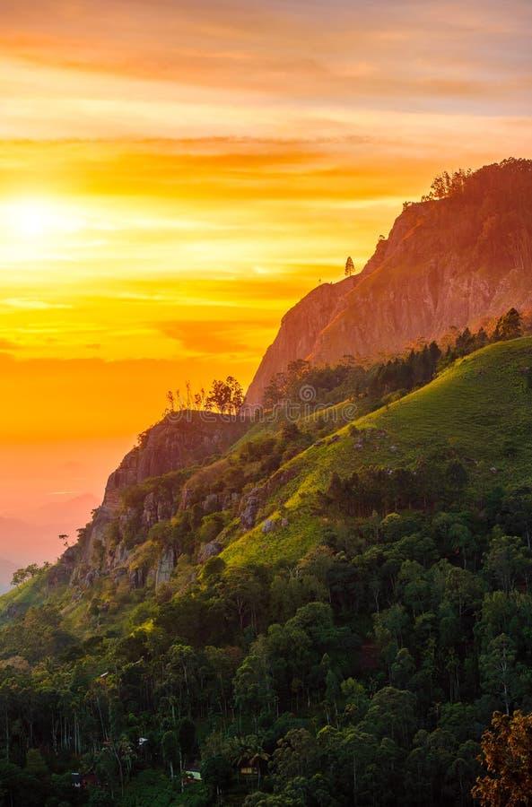 Sunset in the valley near the town of Ella, Sri Lanka. Ella peak stock images