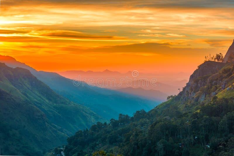 Sunset in the valley near the town of Ella, Sri Lanka. Sunset in the valley near the town of Ella. Ella rock, Sri Lanka stock photos