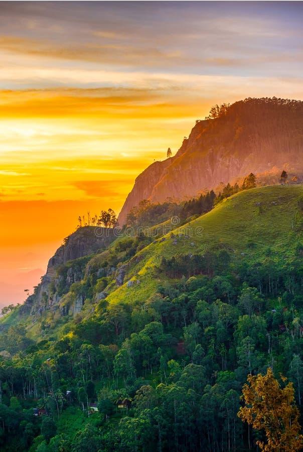Sunset in the valley near the town of Ella, Sri Lanka. Sunset in the valley near the town of Ella.Ella rock, Sri Lanka stock image
