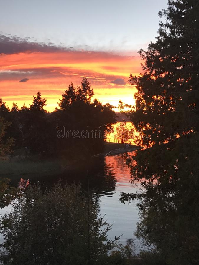Sunset on Vancouver island stock photos