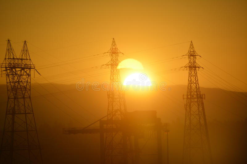 Sunset. In Vancouver. Photo taken from hotel room royalty free stock image
