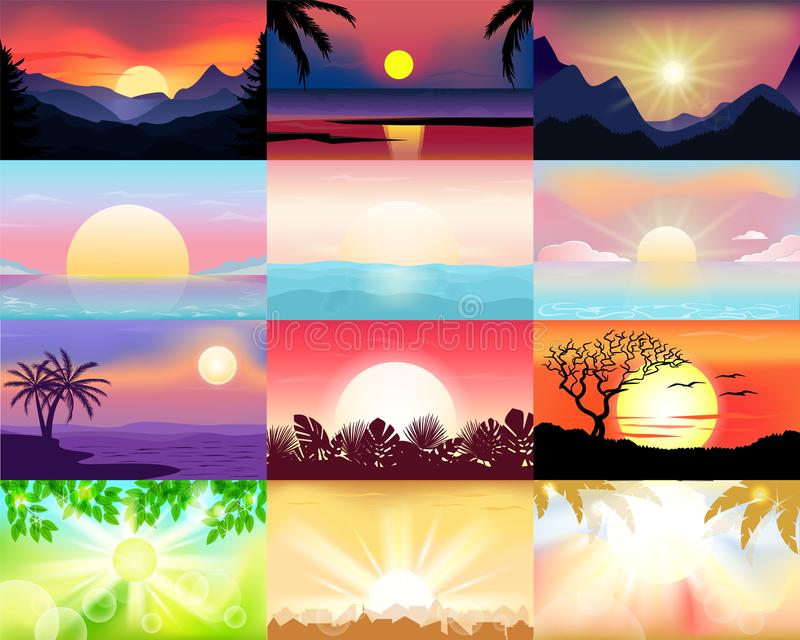 Sunset vector sunrise with Hawaii palms or mountain silhouette on backdrop illustration set of tropical sunlight royalty free illustration