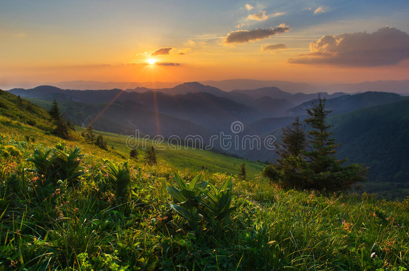 Sunset in Velka Fatra mountains stock photography