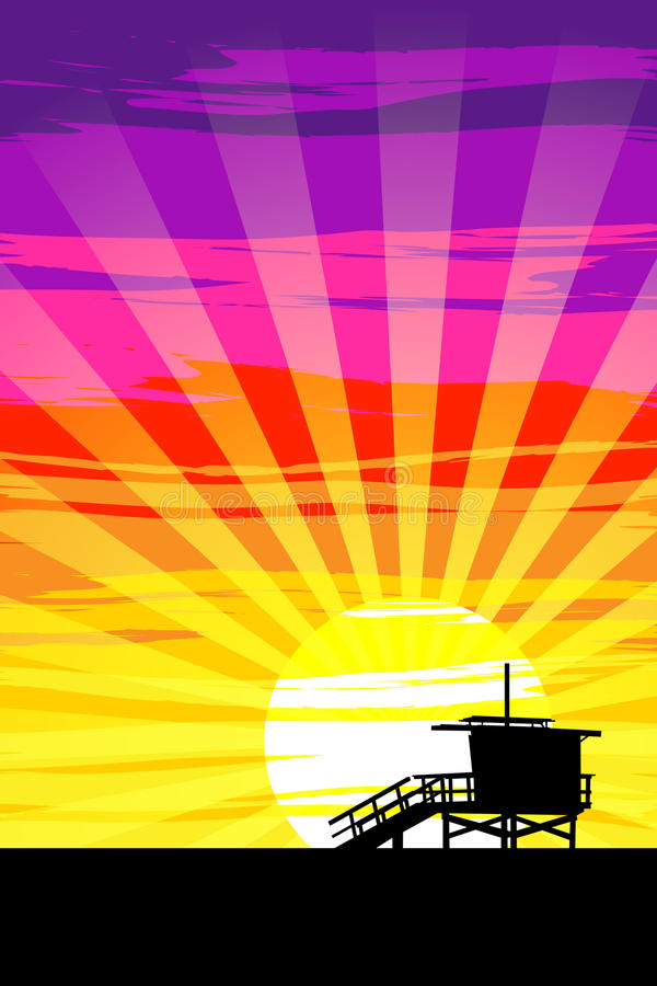 Sunset on Venice Beach, Los Angeles, California. EPS10 Vector. Radial gradients, and layer effects used. Assets are on separate layers royalty free illustration
