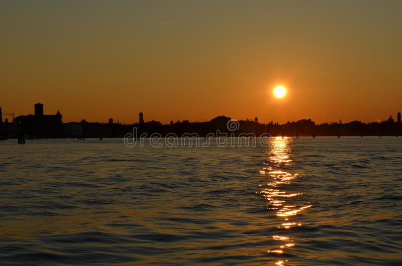 Sunset in Venice stock images