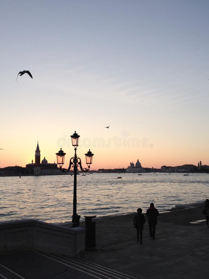 Sunset in Venice royalty free stock images