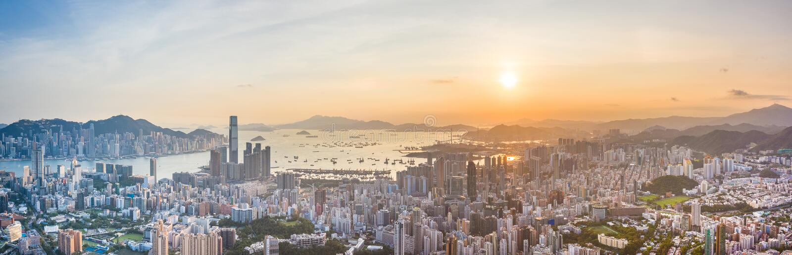 Sunset of Victoria Harbor, cityscape of Hong Kong. Asia royalty free stock photography