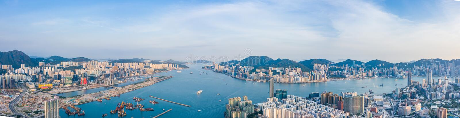 Sunset of Victoria Harbor, cityscape of Hong Kong. Asia stock photography