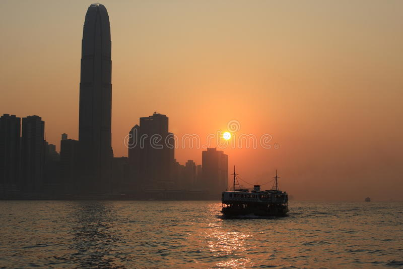 Sunset of Victoria Harbour royalty free stock photography