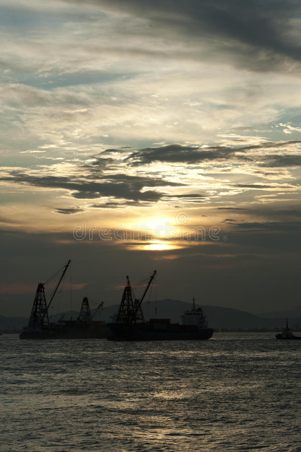 Download Sunset of Victoria harbour stock image. Image of china - 23114855