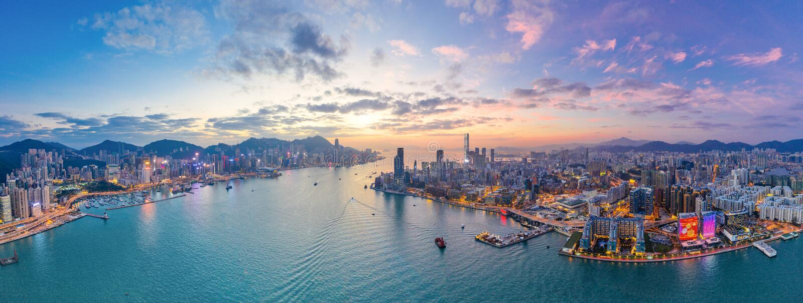 Sunset of Victoria Harbour, Hong Kong royalty free stock photo