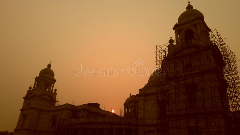 Sunset from victoria memorial royalty free stock photo