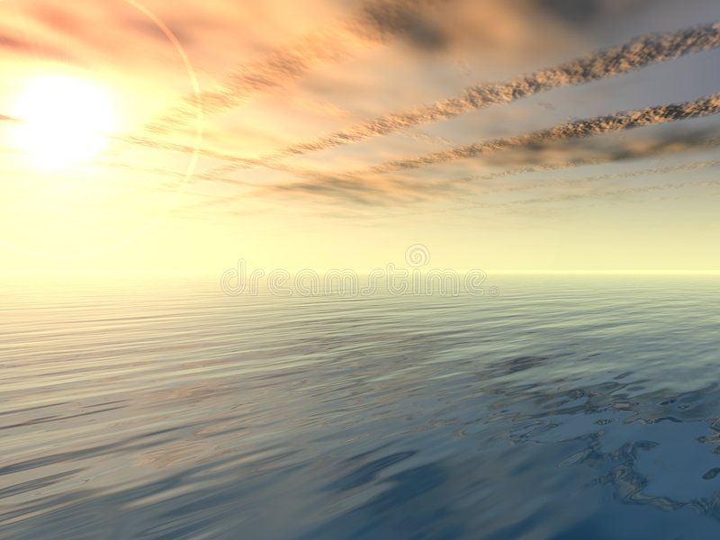 Download Sunset And Victory Clouds Over Sea Stock Illustration - Image: 791857
